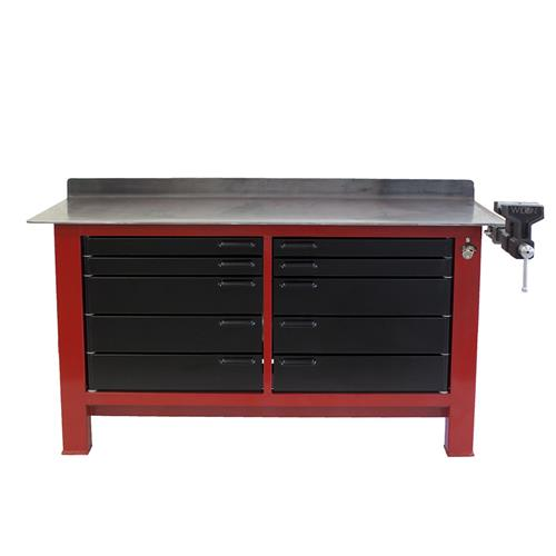 Red and black workbench