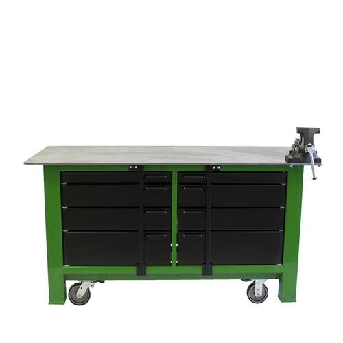 Green and black workbench on casters