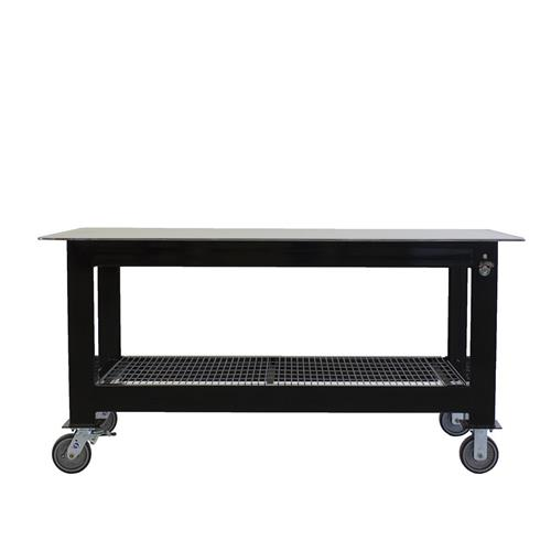 Long welding table on casters
