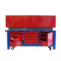 Dominantly red workbench with red cabinets and tool storage