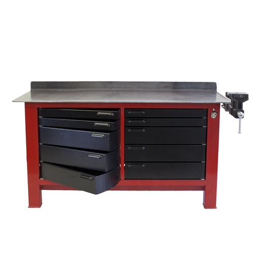 Black and red workbench with metal tabletop