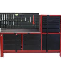 Black tool storage and cabinets with red trim workbench