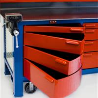 Close up of red swivel cabinets