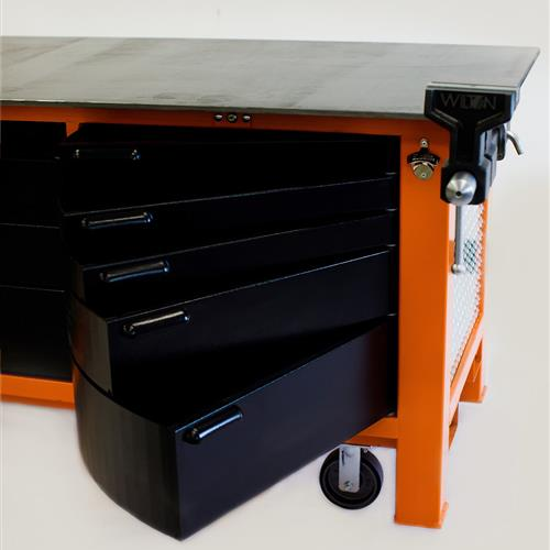 Black swivel cabinets on orange workbench