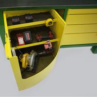 Yello swivel cabinets with items inside