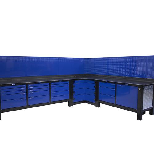 Corner workbench in blue and black