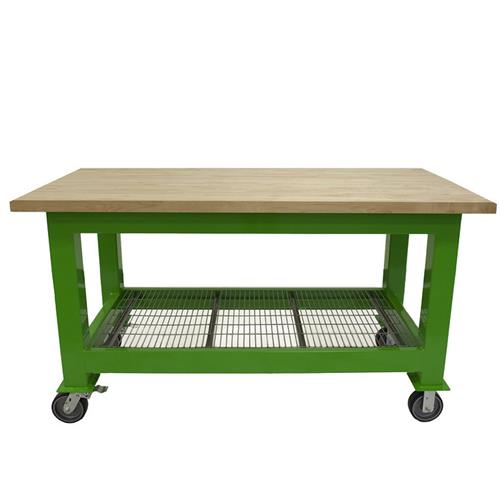 Green workbench on wheels with a wood tabletop