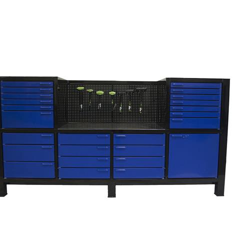 Royal  blue workbench with cabinets and tool storage