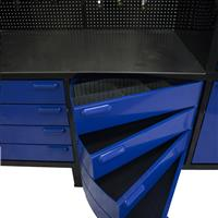 Royal blue swivel cabinet on black workbench