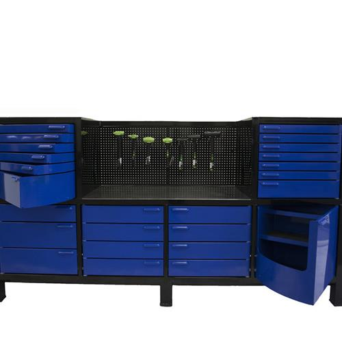Black workbench with blue swivel cabinets open