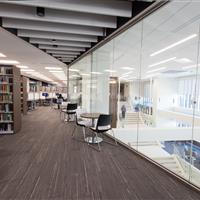 Static shelving keeps library materials organized