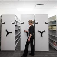Mechanical assist handle makes it easy to move the shelving to retrieve what you need