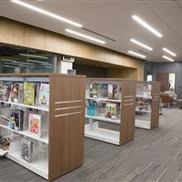 Cantilever library carts with custom end wood panels