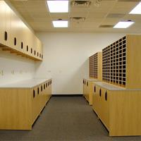 Wood finish mailroom storage with drawers, cabinets and more