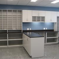 Mailroom storage with drawers, cabinets and more