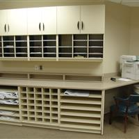 Off white Mailroom storage with drawers, cabinets and more