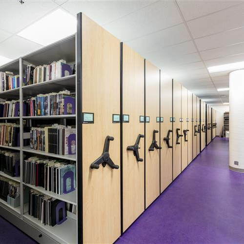 Weber State Library Mechanical Assist Mobile Shelving