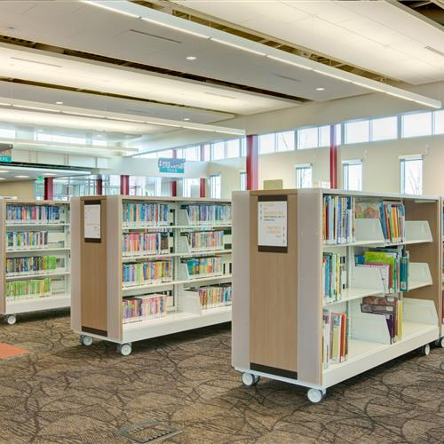 Library book shelves on casters