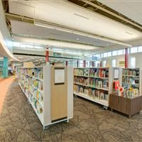 Mobile library shelves on casters
