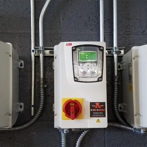 Z-Chill industrial fan operating controls in warehouse