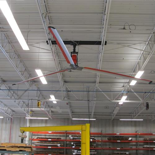 3 blade industrial Z-tech fan in warehouse to manage temperature and keep air flowing