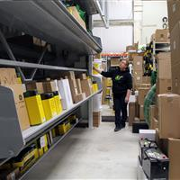 Shelf Carousel at distribution center loaded with boxes JPG