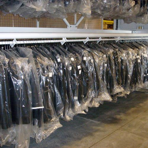 Garment Carousel loaded with covered coats