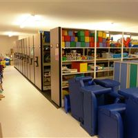 Childcare Toy Storage on Mobile Shelving System at Air Force Base