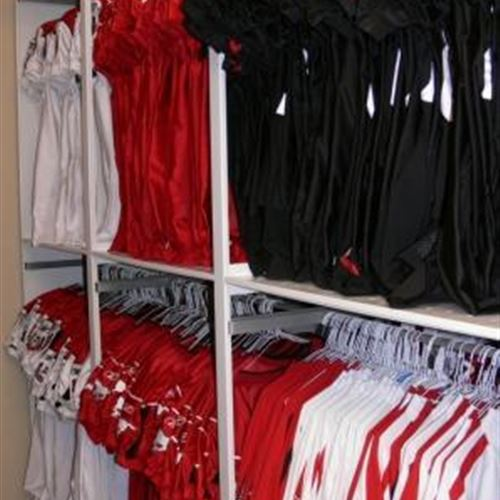 Hanging Jersey Storage on Powered Mobile Shelving at Calgary Stampeders Facility in Calgary Alberta