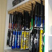 Baseball athletic storage on mobile shelving at LSU