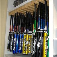 Baseball athletic storage on mobile shelving at LSU
