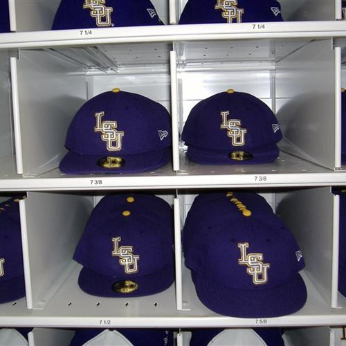 baseball hat storage in cubbies at lsu donnegan systems. Black Bedroom Furniture Sets. Home Design Ideas