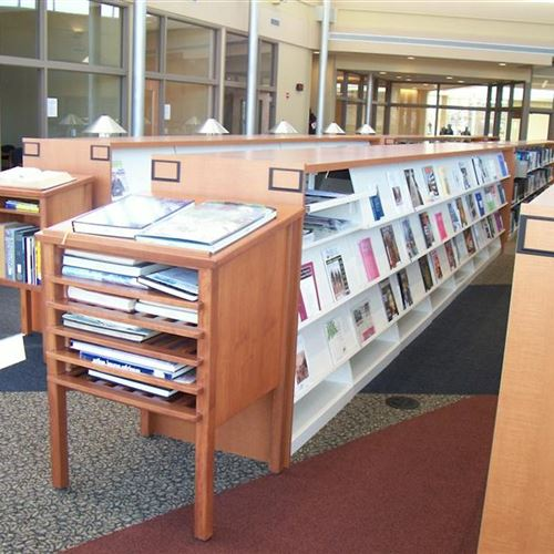 Static Cantilever Shelving with Periodical Displays and Designer Wood Casing