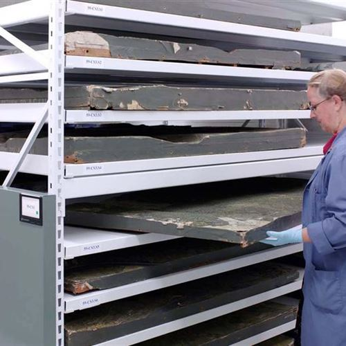 Wide-Span Shelving on a Mechanical-Assist Unit Holding Over-Sized Artifacts at the Canadian War Museum