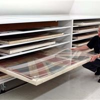 Large Shelving Cabinets on Wheels for Over-Sized Flag Storage at the Canadian War Museum