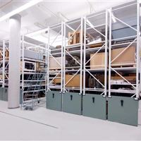 Mechanical-Assist Mobile Shelving with Wide-Span Shelving in the Equipment-Vault at the Canadian War Museum