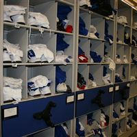 Football athletic storage of personal player gear