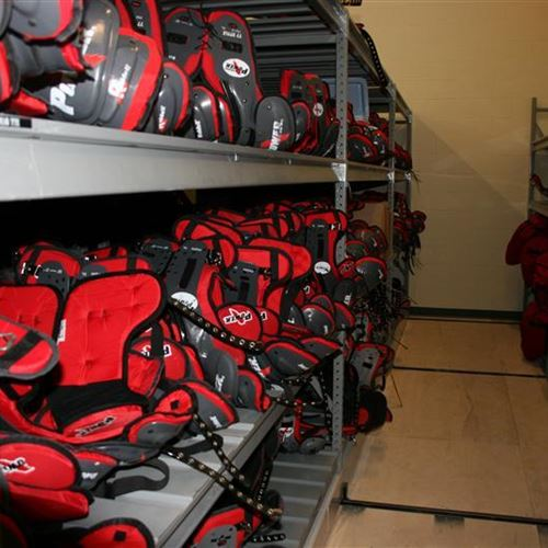 Wide Span Shelving for Shoulder Pad Storage for the Kansas City Chiefs