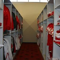 Football athletic equipment storage on mobile shelving