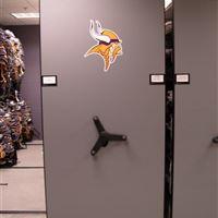Minnesota Vikings Athletic Gear Storage on High Density Mobile Shelving
