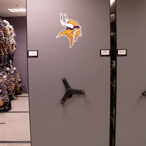 Minnesota Vikings Athletic Gear Storage on High Density Mobile Shelving
