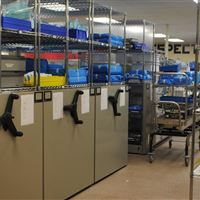 Mechanical-Assist with Wire Shelving in the Sterile Processing Department at Hospital