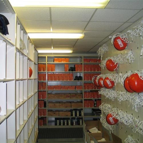 Football Helmet Storage And Cleat Storage At The University Of Illinois