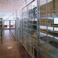 Special Collections with 4-Post Shelving and Plexiglas Cabinet Enclosures