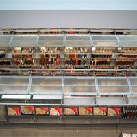 Library Bookstacks with Bartco Lighting on Cantilever Shelving