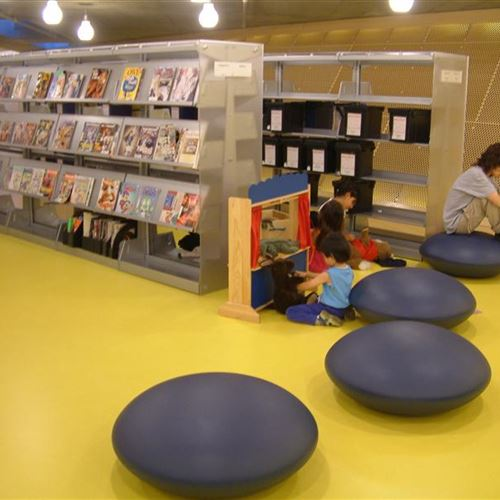 Library Stacks with Acrylic End Panels on Cantilever Shelving
