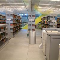 Library Stacks with Acrylic End Panels on Static Cantilever Shelving