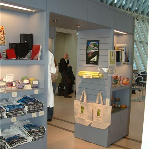 Mobile shelving used at display area for gift shop
