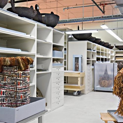 Pacific Anthropology Area with 4-Post Shelving and Drawer Storage
