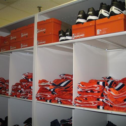 Uniform and Additional Shoe storage stored on Mobile System